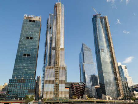 Construction development at the Hudson Yards in Manhattan, NYC, on Chelsea West Side of residential apartments, offices