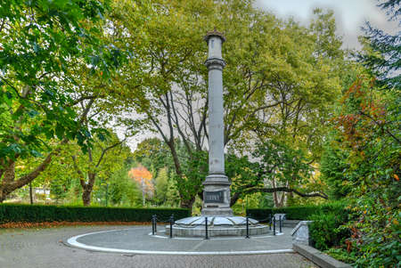 Japanese Canadian War Memorial, erected in memory of Japanese Canadians that served in the First World War. Located in Stanley Park, Vancouver, British Columbia.