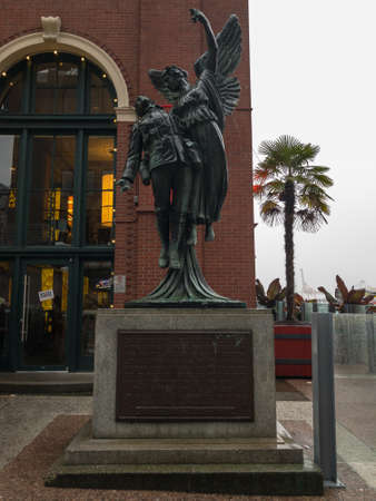 War Memorial for Canadian Pacific Railway Company in front of Waterfront Station in Vancouver, Canada Editöryel