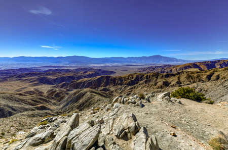 Beautiful overlook of San Bernardino Mountains and Coachella Valley from Joshua Tree's highest viewpoint, Keys View in Joshua Tree National Park, Riverside County, California.
