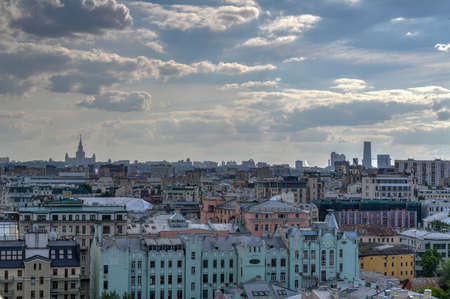 Panoramic view of the Moscow city center skyline in Russia. Standard-Bild