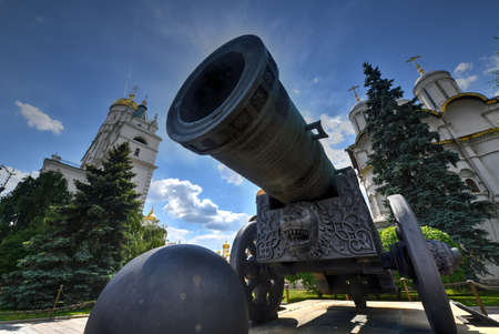 View of Tsar Cannon (King Cannon) in Moscow Kremlin. Moscow Kremlin is a popular touristic landmark. UNESCO World Heritage Site. Editorial