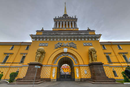 The Admiralty building in Saint Petersburg. The building is the former headquarters of the Admiralty Board and the Imperial Russian Navy in St. Petersburg, Russia. Stock Photo