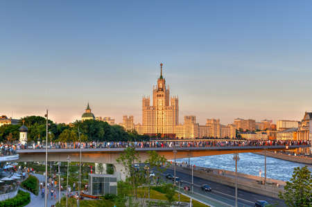 Moscow, Russia - Jun 23, 2018: Kotelnicheskaya Embankment Building, an apartment building. One of seven Stalinist skyscrapers, also called The Seven Sisters. Viewed from Zaryadye Park, Moscow, Russia.