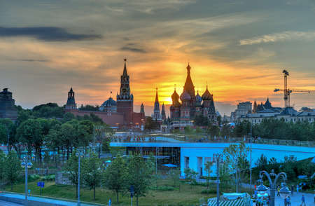 Moscow, Russia - Jun 23, 2018: St Basils Cathedral viewed from Zaryadye Park, Moscow, Russia.