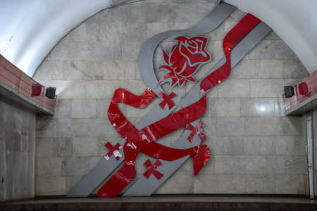 Tbilisi, Georgia - Liberty Square Metro Station with a symbol of Georgia in Tbilisi, Georgia. 新聞圖片