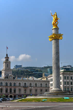 Golden statue of St. George on the main square of Tbilisi, capital city of Georgia. Stock Photo