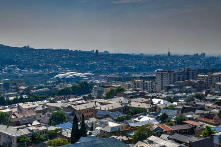 Panoramic city view of the Tbilisi city skyline in Georgia. 版權商用圖片