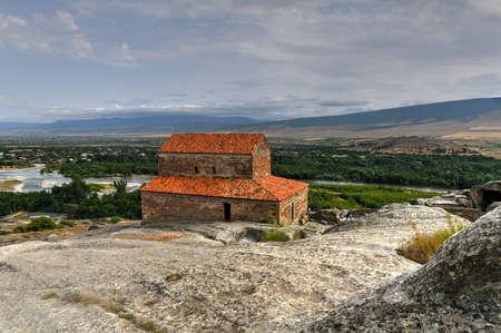 Uplistsikhe, Shida Kartli Region, Georgia.  Uplistsuli Church or Church Of Prince. Ancient Rock-hewn Town In Eastern Georgia.