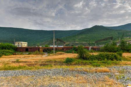 Old Soviet railcars in in the city of Gori, Georgia.