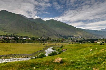 Beautiful panoramic view of the Georgian countryside in Goristsikhe, Georgia