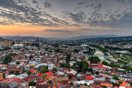 Beautiful panoramic view of Tbilisi from Narikala fortress in Georgia.