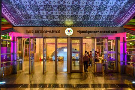 Baku, Azerbaijan - July 14, 2018: Entrance to the metro station Icheri Sheher (Old City) of Baku, Azerbaijan. 新聞圖片