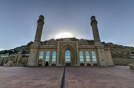 The Bibi-Heybat Mosque is a historical mosque in Baku, Azerbaijan. The existing structure, built in the 1990s, is a recreation of the mosque with the same name built in the 13th century. Stock Photo