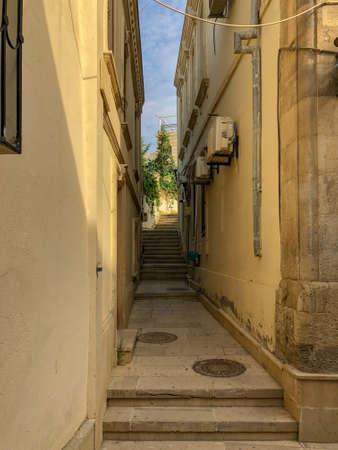 Narrow winding staircase in the old city of Baku, Azerbaijan.