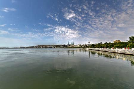 View from Baku Boulevard Park of the city skyline in Baku, Azerbaijan. Stok Fotoğraf