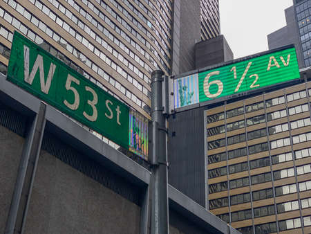 6 1/2 Avenue and 53rd Street in midtown Manhattan, New York.