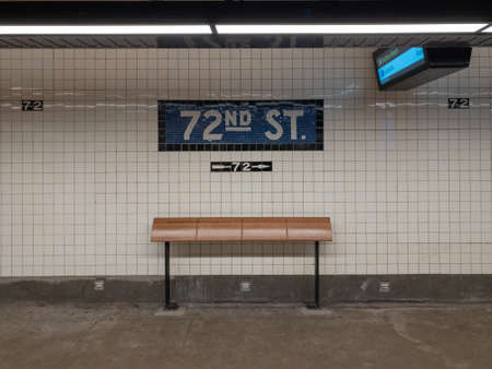 New York City - March 26, 2019: Sign for the 72nd Street Subway stop along the New York City subway.