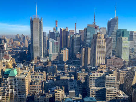 Panoramisch uitzicht op de skyline van New York City en Midtown Manhattan. Stockfoto