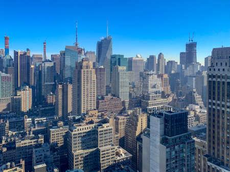 Panoramic view of the New York City skyline and Midtown Manhattan.