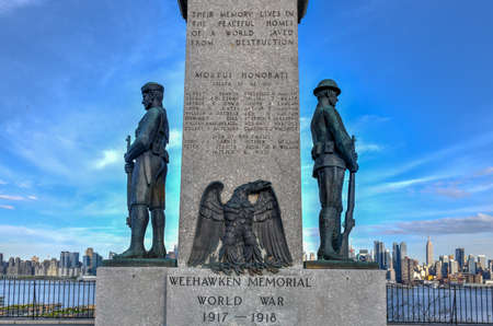 The Weehawken World War I Veterans Memorial in Weehawken, NJ. The U.S. had 116,708 military deaths and over 200,000 wounded during the war.