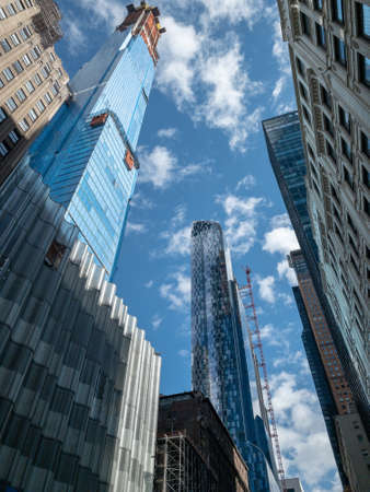 New York City - February 25, 2019: Central Park Tower under construction in New York City. The building will rise 1,550 feet (472 m) to the roof.