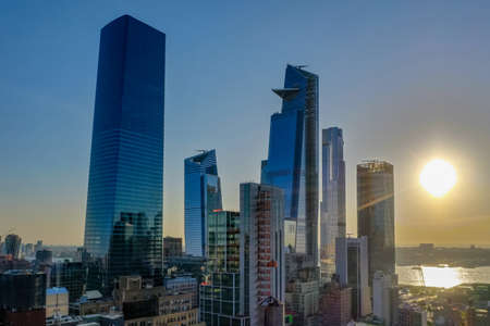 Panoramic view of Midtown Manhattan in New York City during the day. Stock Photo