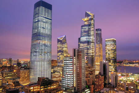 Panoramic view of Midtown Manhattan in New York City during at dusk.