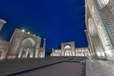 The Registan was the heart of the ancient city of Samarkand of the Timurid dynasty, now in Uzbekistan. The name Registan means