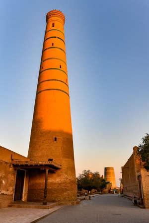 Jummi Minaret in the old town of Khiva, Uzbekistan. Slender minaret belonging to the Jummi mosque (Friday mosque).