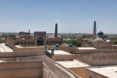 View from Kunya-Ark Citadel in Khiva, Khorezm Region, Uzbekistan. Imagens