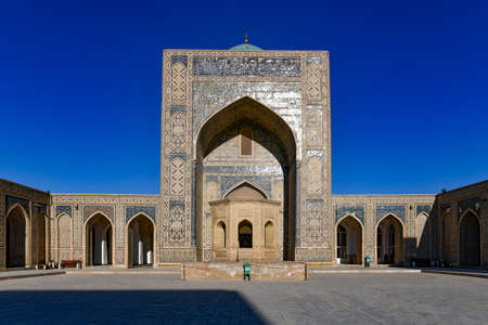 Inner courtyard of the Kalyan Mosque, part of the Po-i-Kalyan Complex in Bukhara, Uzbekistan. Stock Photo