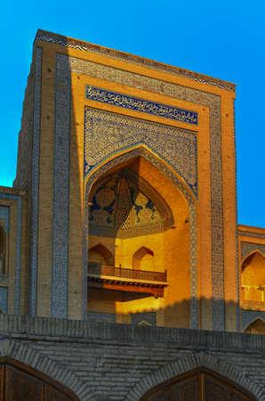 View of the entrance to the Mohammed Amin Madrassah in Khiva, Uzbekistan. Stock fotó