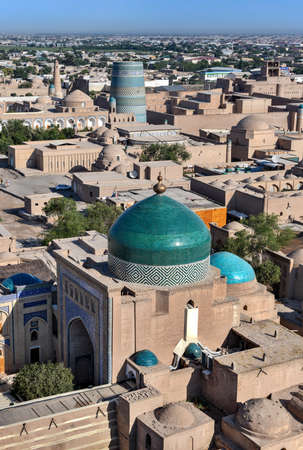 Aerial view of the architecture of the Khiva's madrassa and Islam Khoja Minaret in Uzbekistan. Stock fotó