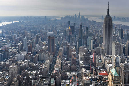 View of skyscrapers along the New York City skyline during the day.