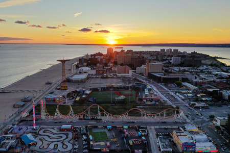 Aerial view along Coney Island and the beach in Brooklyn, New York. Stock Photo
