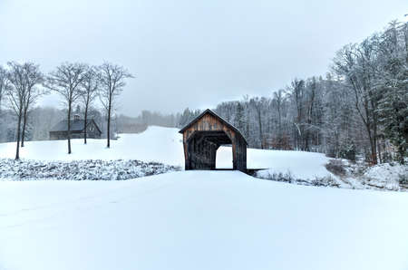 Mill Brook Covered Bridge in Hartland, Vermont during the winter. Stock fotó