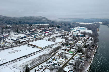 Aerial view of the small town of Windsor, Vermont in the winter. Banco de Imagens