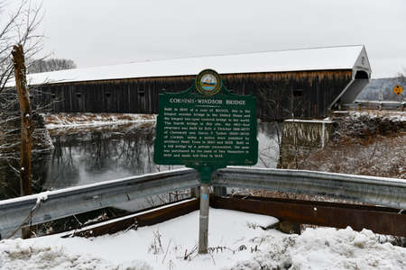 Sign denoting the Cornish-Windsor Covered Bridge. It connects Vermont and New Hampshire at their borders. It is the world's longest covered bridge at 460 feet. It was built in 1866. Editorial