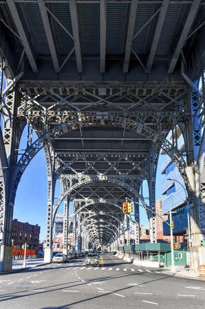 New York City - Feb 17, 2020: Underside of the steel girders of Riverside Drive in Manhattan, New York City.