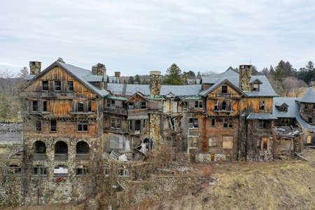 Exterior view of Abandoned Bennett School for Girls in New York Stock Photo