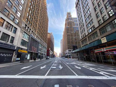 New York City - Apr 7, 2020: Empty streets of Midtown Manhattan during the Coronavirus epidemic in New York City.