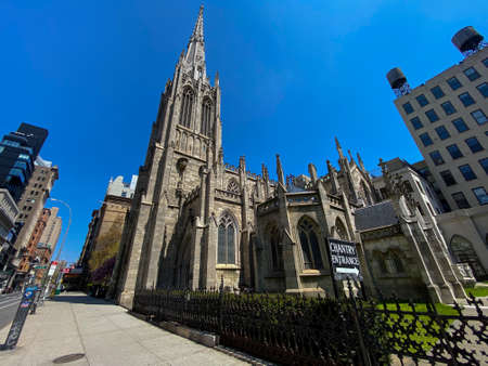 New York City - Apr 19, 2020: Grace Church is a historic parish church in Manhattan, New York City which is part of the Episcopal Diocese of New York.