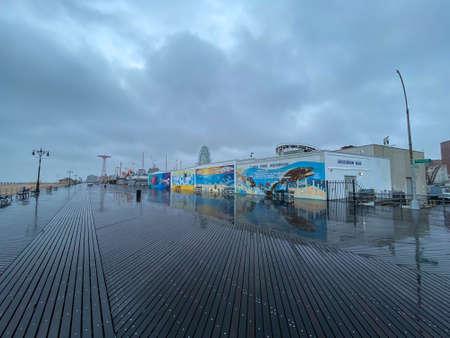 Brooklyn, New York - Apr 26, 2020: A deserted boardwalk along the southern coast of Brooklyn, New York.
