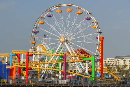 Los Angeles, California - May 15, 2007: Ferris wheel on Santa Monica Pier by Santa Monica Beach in Los Angeles, California, USA.