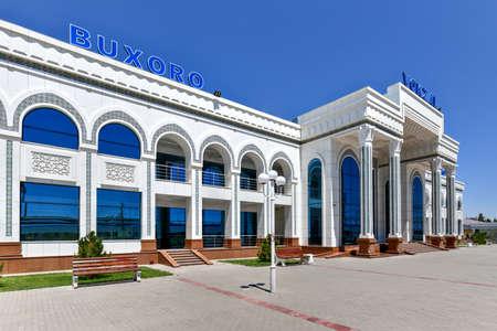 Bukhara , Uzbekistan - July 13, 2019: Bukhara railway station where the high-speed Afrosiyob train stops. Sajtókép