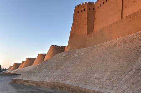 Wall of Itchan Kala (Ichon Qala) - Khiva (Chiva, Heva, Xiva, Chiwa, Khiveh) - Xorazm Province - Uzbekistan - Town on the silk road in Central Asia. Sajtókép