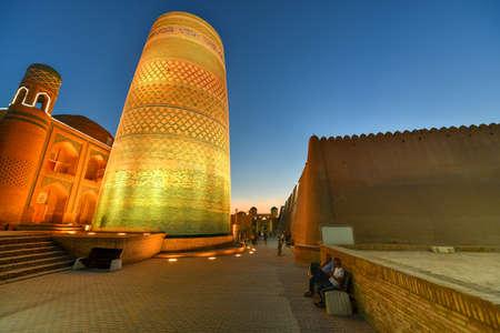 Khiva, Uzbekistan - Jul 13, 2019: Historic architecture of Itchan Kala, walled inner town of the city of Khiva, Uzbekistan a UNESCO World Heritage Site.