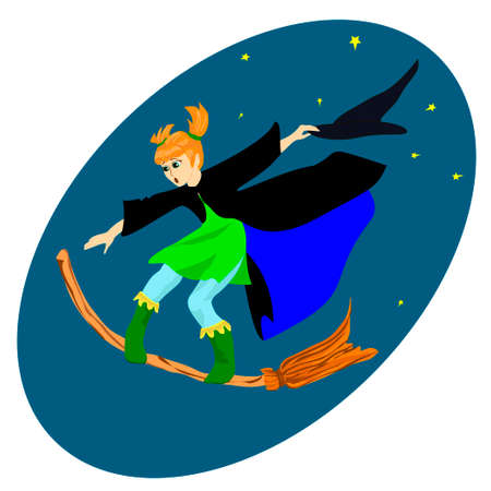 witch on a broomstick in the night sky Vector