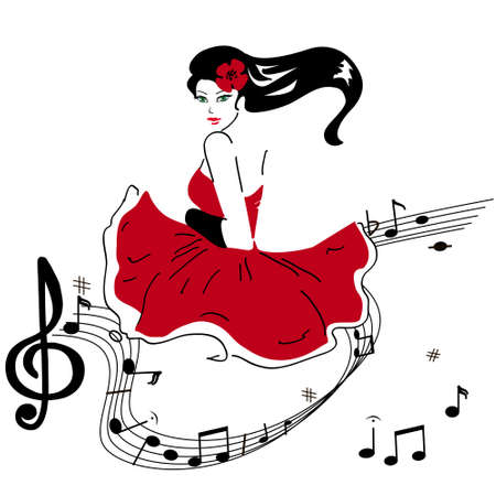 girl in a red and Music